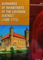 Okładka książki: Surnames of inhabitants of the Lidzbark district (1500-1772)